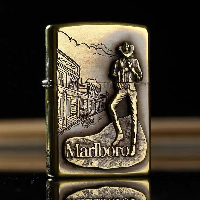 Lightweight zippo genuine armor pure copper Marlboro cowboy B men's official genuine kerosene Zippo gift