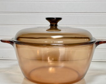 Corning France Casserole Andre Andrieu With Lid Vintage Extra Large Amber Glass Vision Ware Serge Renault