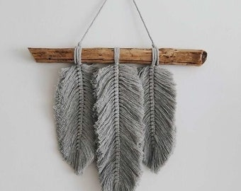 Macrame 3 x Feathers, Wall Hanging KIT (28 x 30cm)