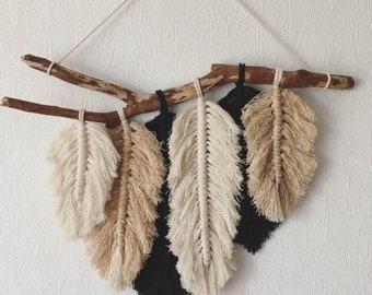 Macrame 6 x Feathers, Wall Hanging KIT (50 x 30cm)