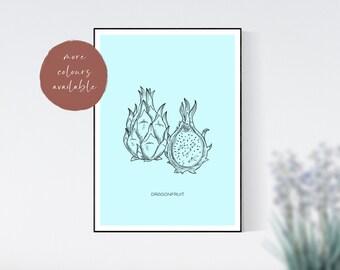 Dragonfruit Minimalist Kitchen Print, Food Print, Ingredient Print, Home Decor, Wall Art Prints, Digital Print, Digital Wall Art, Food Gift