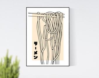 Ramen Japanese Minimalist Kitchen Print, Home Decor, Wall Art Prints, Digital Print, Digital Wall Art, Food Gift, Japanese, Ramen Lover