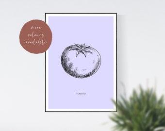 Tomato Minimalist Kitchen Print, Food Print, Ingredient Print, Home Decor, Wall Art Prints, Digital Print, Digital Wall Art, Food Gift