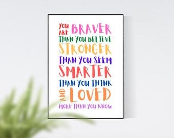 Braver Stronger Smarter Loved Nursery Print, Wall Art, Home Decor, Wall Art Prints, Digital Print, Digital Art, Children's Gift, Kids Print