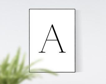 Letter A Wall Art, Letter A Monogram, Home Decor, Wall Art Prints, Digital Print, Digital Wall Art, Initial A