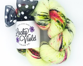 Orchid Hand Dyed / Painted Indie Sock Yarn from Lucky Violet Color Co