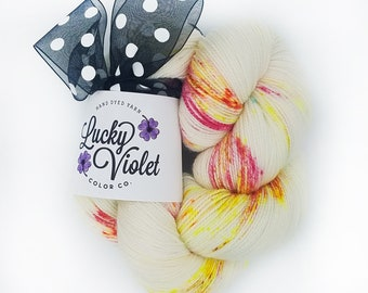 Pink Cookie Crumbs Hand Dyed / Painted Indie Sock Yarn from Lucky Violet Color Co