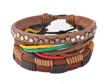 Bracelets 2pcs of Hyper Leather Style Surfer Rave Style Fashion Club Wear Fashion Bracelets Leather Style Gaywear Style Gay Wear Shop Shops
