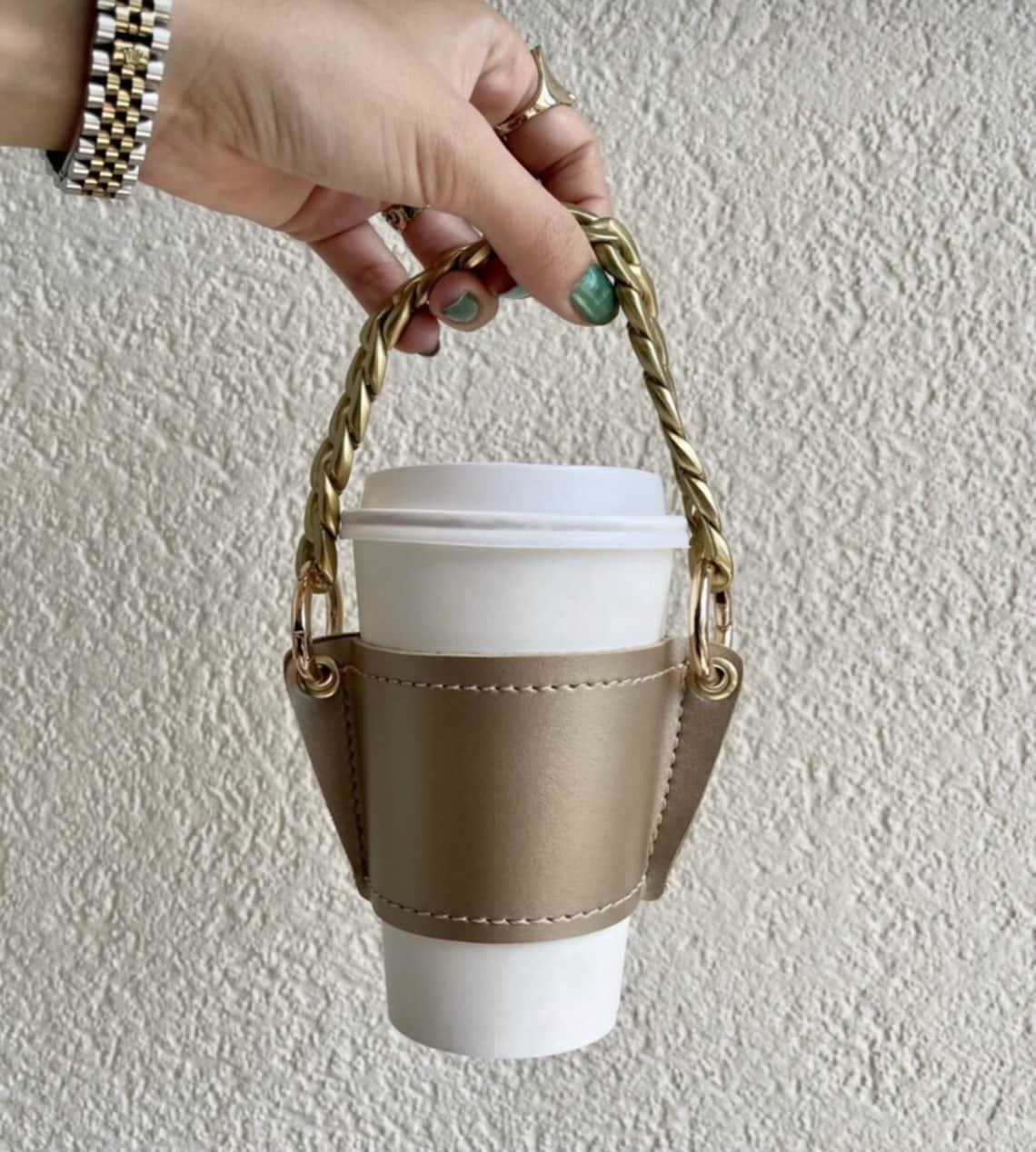 Porte-tasse à café en cuir fait à la main / Porte-tasse à café image 7