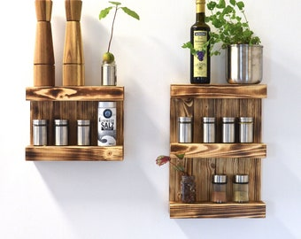 Spice rack in different sizes and colors made of wood