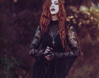 Women's Gothic Punk Dress Lace Sleeve Fishtail Mermaid Dress Style, Halloween Vampire Black Dress, Halloween Costume