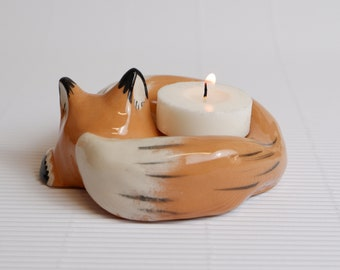 Fox jewelry holder, candle holder