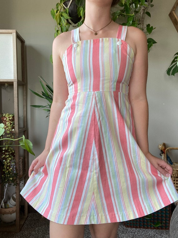 Vintage 60s 70s Pastel Stripped Mini Dress / Aline