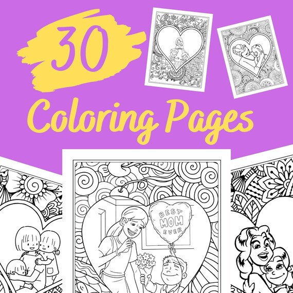 Mother's Day Mandala Style Coloring Pages  30 Pages For