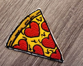 Food Cute Veggie or Pepperoni Sew-on Patch Hand embroidered Pizza Slice Embroidered Mini Felt Patch