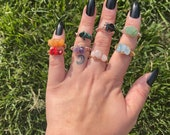 Small Crystal Wire Wrapped Rings, Crystal Rings, Wire Wrapped Crystals, Boho Rings, Healing Crystals, Beautiful Rings