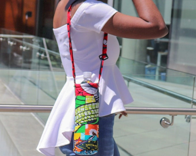 African Print Patchwork Insulated Bottle Bag