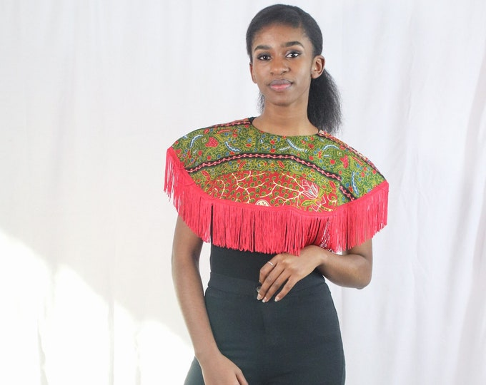 Keila Kitenge Print Cape with Red Fringe Detail (ONE SIZE)