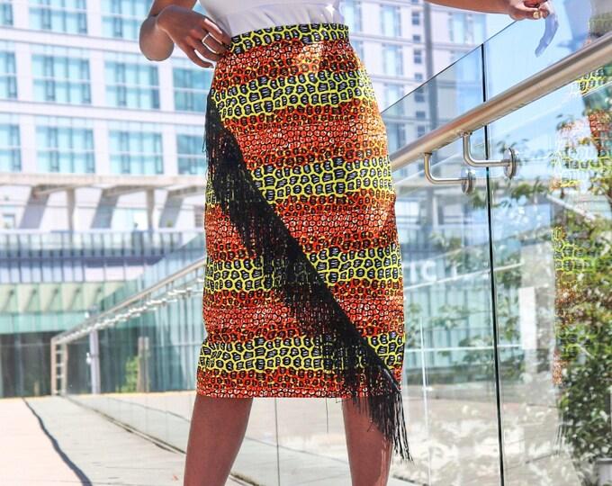 Ankara Pencil Fringe Skirt