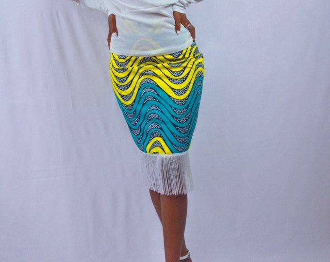 Ankara Pencil Skirt with Fringe Detail