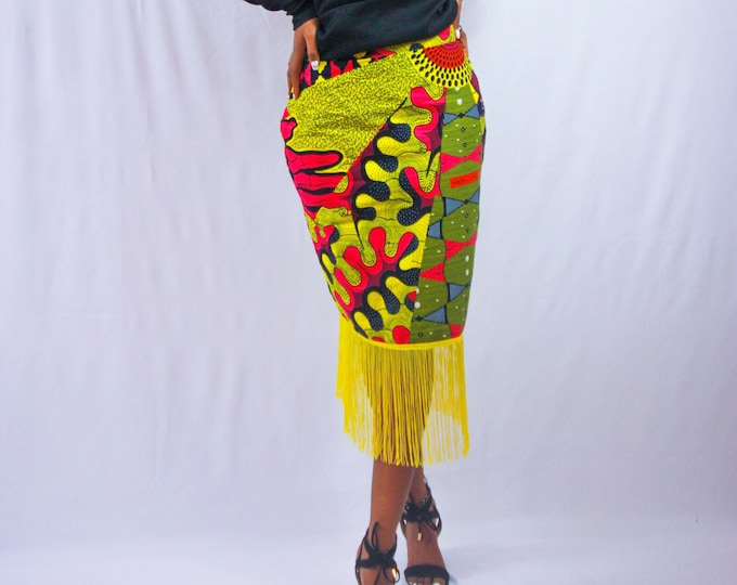 African Print Pencil Skirt with Fringe Detail