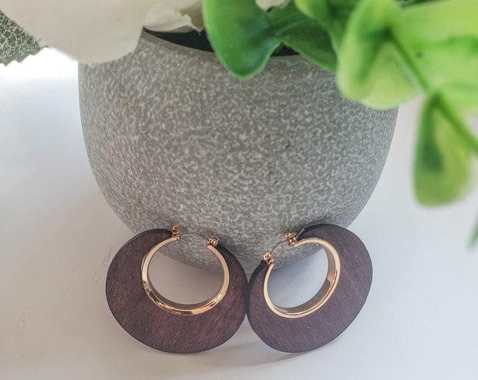 Modern Circle Wood Earrings
