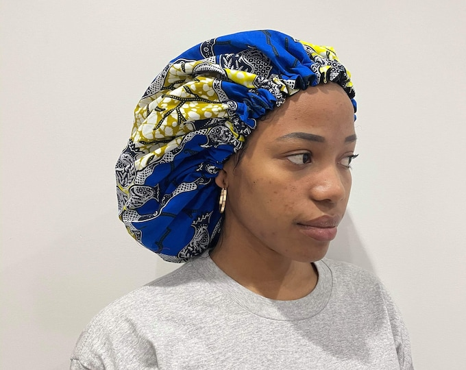 African Fabric Satin Lined Bonnet