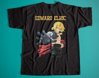 Fullmetal Alchemist: Brotherhood Edward Elric Unisex Retro Cotton T-Shirt / Vintage Anime Fullmetal Tee
