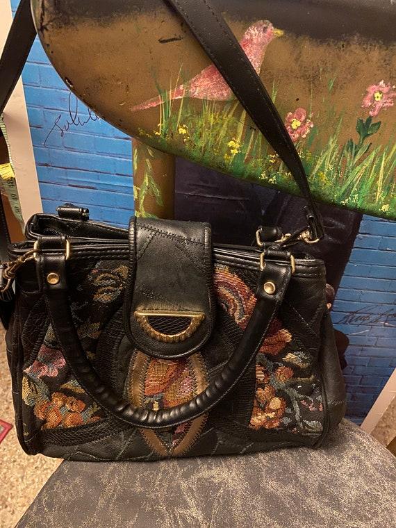 Vintage black leather tapestry handbag