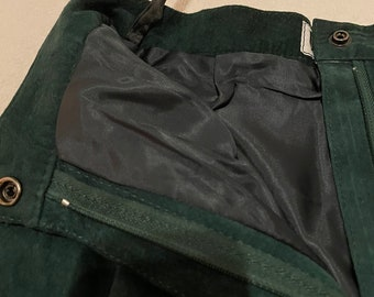 Vintage Green Suede Straight Leg Pants
