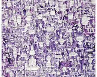 Hidden object, endless laboratory - labyrinth in bright purple! large-format art print of ink drawing and watercolor painting, wall decoration