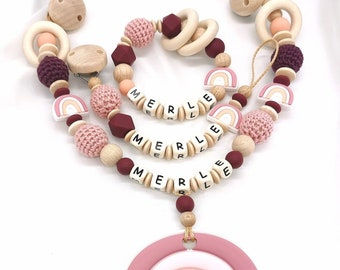 Set Stroller Chain With Name Rainbow Girl Wine Red Gift Birth Baby Shower