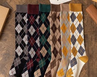 Vintage Retro Rustic Argyle Diamond Print Long Knee Socks New Colors