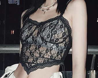 Gothic Black Lace Cross Crop Top Dark Aesthetic Apparel. Semi Transparent Sleeveless Backless Camisole with Crucifix