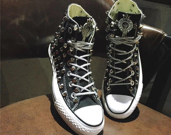 Distressed Rivet and Spike Modified Canvas Converse Shoes, Dirty Retro Punk Converse, Gothic Canvas Shoe