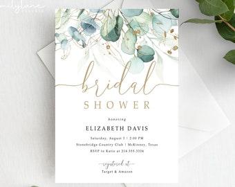 Bridal Shower Invitation Template | Eucalyptus Bridal Shower Invite | Greenery Bridal Shower | Editable Bridal Shower Template | Jules