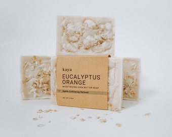Eucalyptus Orange Oatmeal Shea Butter Soap | Moisturizing, Hydrating, Sensitive Skin, Gentle Exfoliating