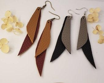 handmade dangles vegan polymer clay silver rose gold stars Clay Earrings boho vegan and cruelty free earrings