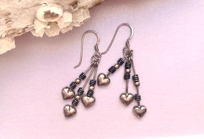 Pair of 925 solid sterling silver earrings  Antique jewelry  image 0