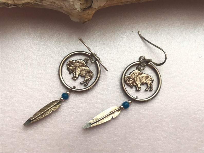 Native American Pair of 925 Sterling Silver Cut Coin Earrings image 0