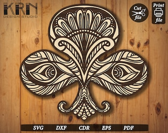 PLAYING CARDS Clubs Symbol - Jali, Partition, Laser Cut file, Wood Cutting, Paper Cutting, Digital, Downloadable, Vector, svg, eps, dxf