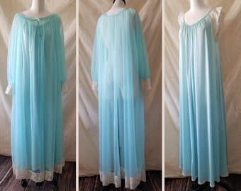 1960s Vintage turquoise chiffon peignoir + nightgown set by Miss Elaine, see-through negligee, dressing gown