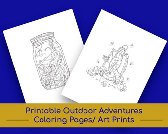 Printable Outdoor Adventures Coloring Pages | Wall Art/Wall Decor | Nursery Decor | Coloring | Kids' Coloring Pages | Kids' Coloring Book