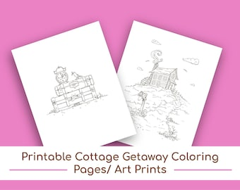 Printable Cottage Getaway Coloring Pages, Wall Art, Wall Art/Wall Decor, Nursery Decor, Coloring, Kids' Coloring Pages, Kids' Coloring Book
