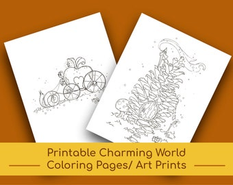 Printable 'A Charming World' Coloring Pages | Wall Art/Wall Decor | Nursery Decor | Coloring | Kids' Coloring Pages | Adult Coloring Page