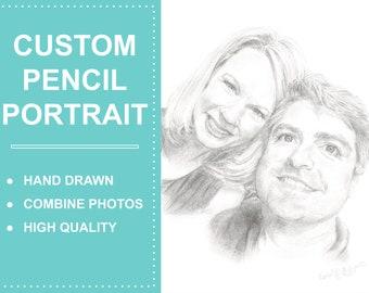 Custom Pencil Portraits, Custom Pencil Drawing, Drawing with Pencil, Hand Drawn Portraits Drawing from Photo, Handmade Custom Portrait,