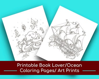 Printable Book Lover Ocean Coloring Pages/Wall Art, Wall Decor, Nursery Decor, Coloring, Kids' Coloring Pages, Kids' Coloring Book