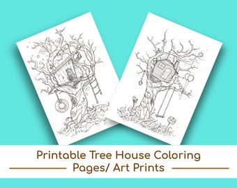 Printable Treehouse Coloring Pages/Wall Art, Wall Decor, Nursery Decor, Coloring, Kids' Coloring Pages, Kids' Coloring Book