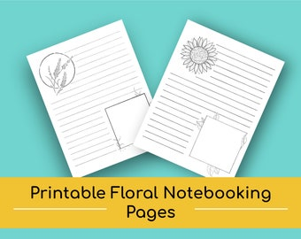Floral Themed Notebooking Pages (Sunflower & Lavender) | Printables Paper, Notebook Paper, Notebook Journal, Notebook Lined, Digital Paper