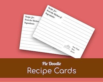 Printable Recipe Cards, Recipe Template, Recipe Card Template, Printable Recipe Kit